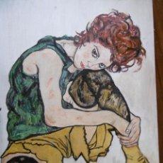 Arte: EDITH HARMS OLEO SOBRE TABLA DE EGON CHIELE. Lote 157952926