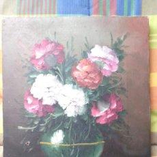 Arte: JARRON CON CLAVELES DEL AUTOR E. JARDA (ORIGINAL) 28X22. Lote 158224086