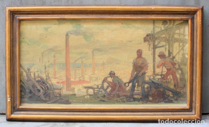 Arte: Alegorías de industria y pesca, dos proyectos, atribuido a Enric Pascual Monturiol, óleo sobre tela. - Foto 2 - 158230758
