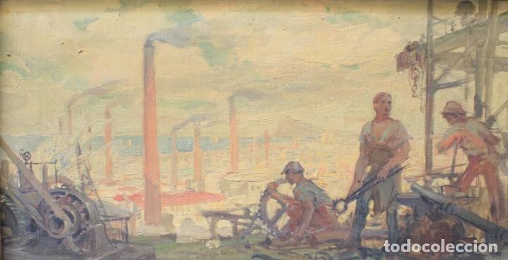 Arte: Alegorías de industria y pesca, dos proyectos, atribuido a Enric Pascual Monturiol, óleo sobre tela. - Foto 3 - 158230758