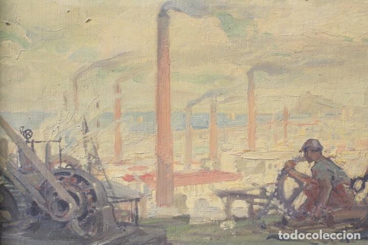 Arte: Alegorías de industria y pesca, dos proyectos, atribuido a Enric Pascual Monturiol, óleo sobre tela. - Foto 4 - 158230758