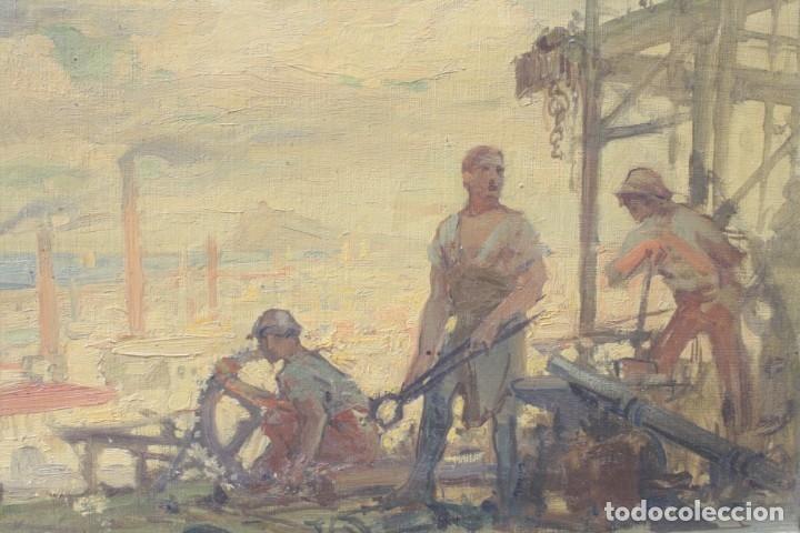 Arte: Alegorías de industria y pesca, dos proyectos, atribuido a Enric Pascual Monturiol, óleo sobre tela. - Foto 5 - 158230758