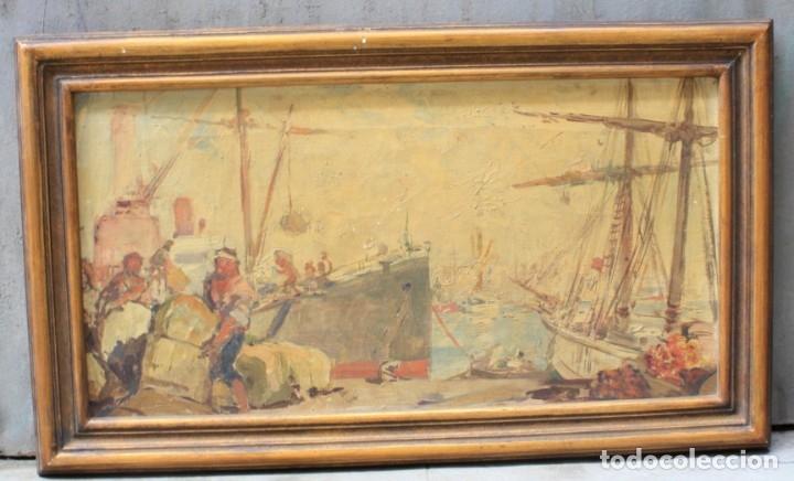 Arte: Alegorías de industria y pesca, dos proyectos, atribuido a Enric Pascual Monturiol, óleo sobre tela. - Foto 8 - 158230758