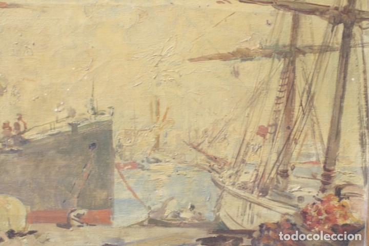Arte: Alegorías de industria y pesca, dos proyectos, atribuido a Enric Pascual Monturiol, óleo sobre tela. - Foto 11 - 158230758