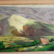 Arte: OLEO SOBRE LIENZO. PAISAJE DE MONTAÑA. CASERÍO CON CABRAS. NORTE DE ESPAÑA, ASTURIAS, GALICIA. FIRMA. Lote 158270978