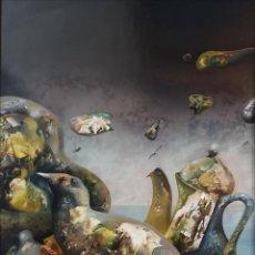 Arte: LUGRÍS VADILLO , URBANO ( VIGO,1942 - A CORUÑA,2018). BODEGÓN ACONSEJADO. ÓLEO SOBRE TABLA. Lote 158389810