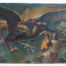 Arte: SAN JORGE, CABALLERO Y DRAGÓN, PINTURA AL ÓLEO SOBRE MADERA, ATRIBUIDO A MANUEL FONTANALS MATEU.. Lote 158391274