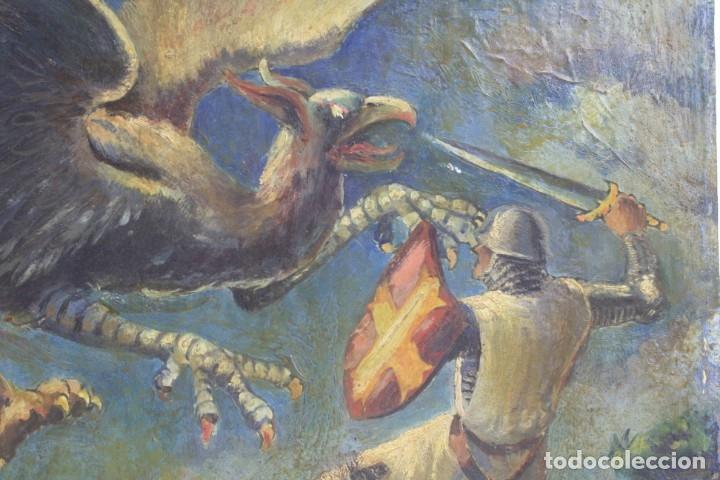Arte: San Jorge, caballero y dragón, pintura al óleo sobre madera, atribuido a Manuel Fontanals Mateu. - Foto 4 - 158391274