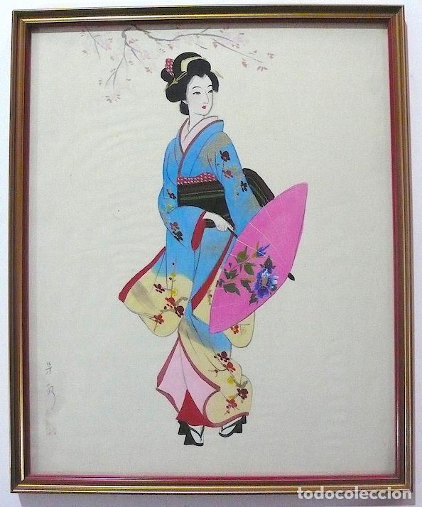 PINTURA CHINA SOBRE SEDA, FIRMADA (Arte - Pintura Directa del Autor)