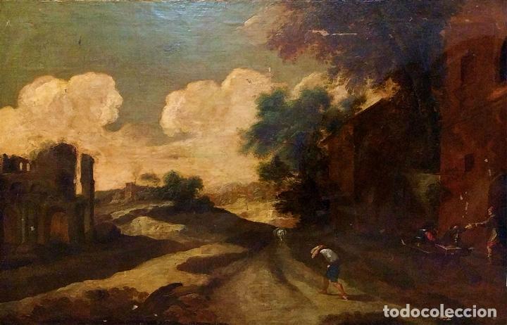 PAISAJE CON RUINAS. ÓLEO SOBRE LIENZO. ESCUELA ITALIANA. ITALIA. XVII-XVIII (Arte - Pintura - Pintura al Óleo Antigua siglo XVIII)