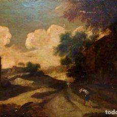 Arte: PAISAJE CON RUINAS. ÓLEO SOBRE LIENZO. ESCUELA ITALIANA. ITALIA. XVII-XVIII. Lote 158525874