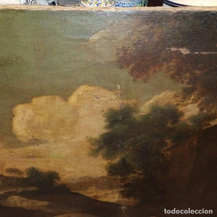 Arte: PAISAJE CON RUINAS. ÓLEO SOBRE LIENZO. ESCUELA ITALIANA. ITALIA. XVII-XVIII - Foto 6 - 158525874