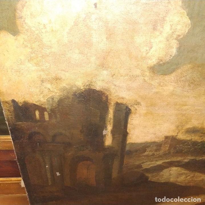 Arte: PAISAJE CON RUINAS. ÓLEO SOBRE LIENZO. ESCUELA ITALIANA. ITALIA. XVII-XVIII - Foto 9 - 158525874