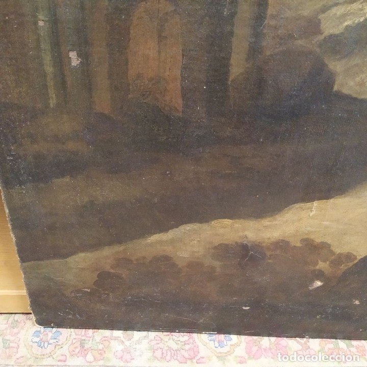 Arte: PAISAJE CON RUINAS. ÓLEO SOBRE LIENZO. ESCUELA ITALIANA. ITALIA. XVII-XVIII - Foto 10 - 158525874