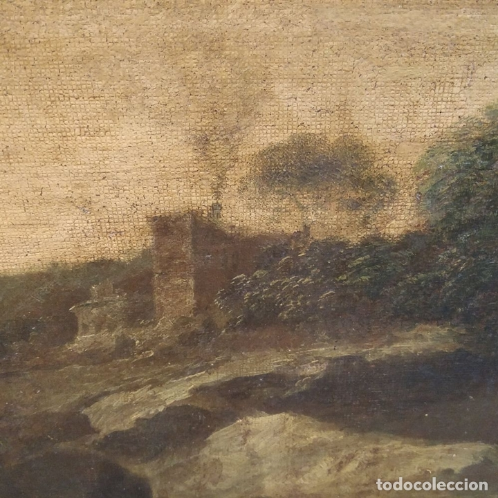 Arte: PAISAJE CON RUINAS. ÓLEO SOBRE LIENZO. ESCUELA ITALIANA. ITALIA. XVII-XVIII - Foto 13 - 158525874