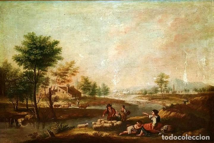 PAISAJE CON CAMPESINOS. ÓLEO SOBRE LIENZO. ESCUELA ITALIANA. ITALIA. XVIII-XIX (Arte - Pintura - Pintura al Óleo Antigua siglo XVIII)