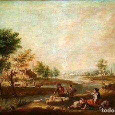 Arte: PAISAJE CON CAMPESINOS. ÓLEO SOBRE LIENZO. ESCUELA ITALIANA. ITALIA. XVIII-XIX. Lote 158532262