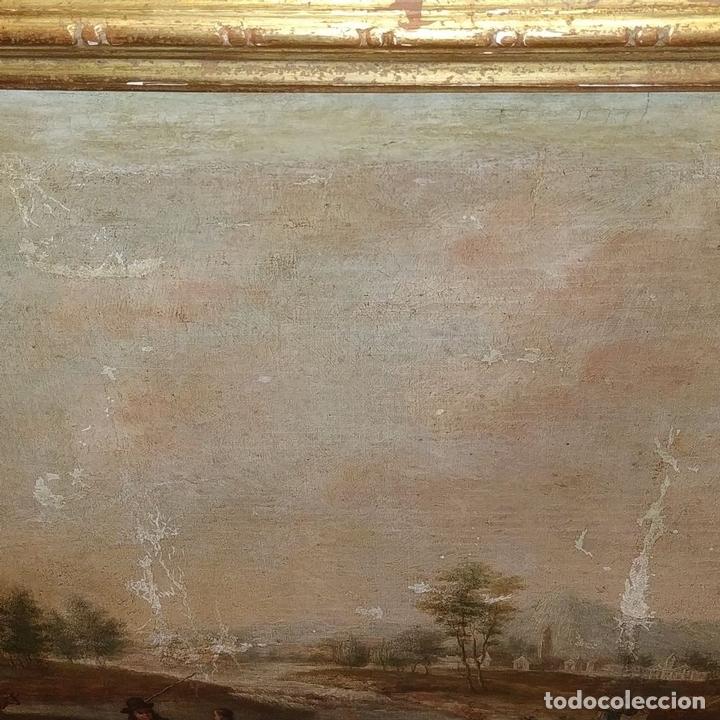 Arte: PAISAJE CON CAMPESINOS. ÓLEO SOBRE LIENZO. ESCUELA ITALIANA. ITALIA. XVIII-XIX - Foto 3 - 158532262