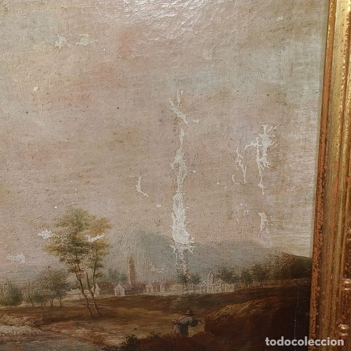 Arte: PAISAJE CON CAMPESINOS. ÓLEO SOBRE LIENZO. ESCUELA ITALIANA. ITALIA. XVIII-XIX - Foto 4 - 158532262