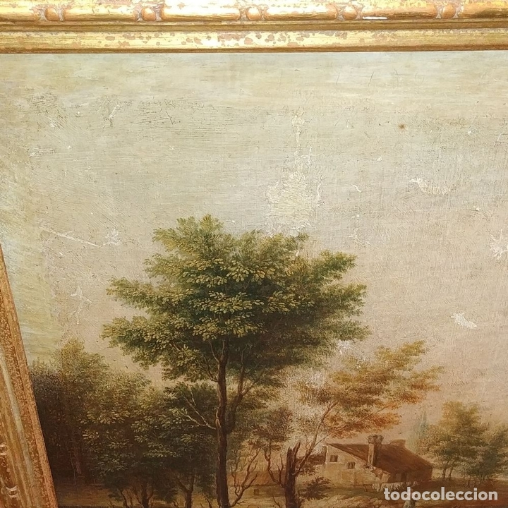 Arte: PAISAJE CON CAMPESINOS. ÓLEO SOBRE LIENZO. ESCUELA ITALIANA. ITALIA. XVIII-XIX - Foto 5 - 158532262