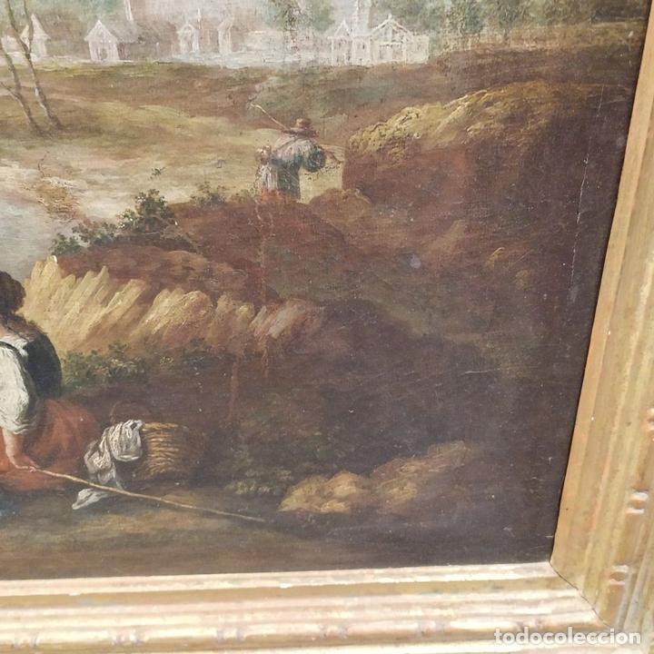 Arte: PAISAJE CON CAMPESINOS. ÓLEO SOBRE LIENZO. ESCUELA ITALIANA. ITALIA. XVIII-XIX - Foto 8 - 158532262