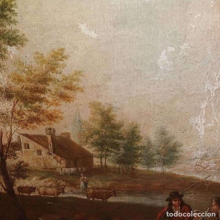 Arte: PAISAJE CON CAMPESINOS. ÓLEO SOBRE LIENZO. ESCUELA ITALIANA. ITALIA. XVIII-XIX - Foto 9 - 158532262
