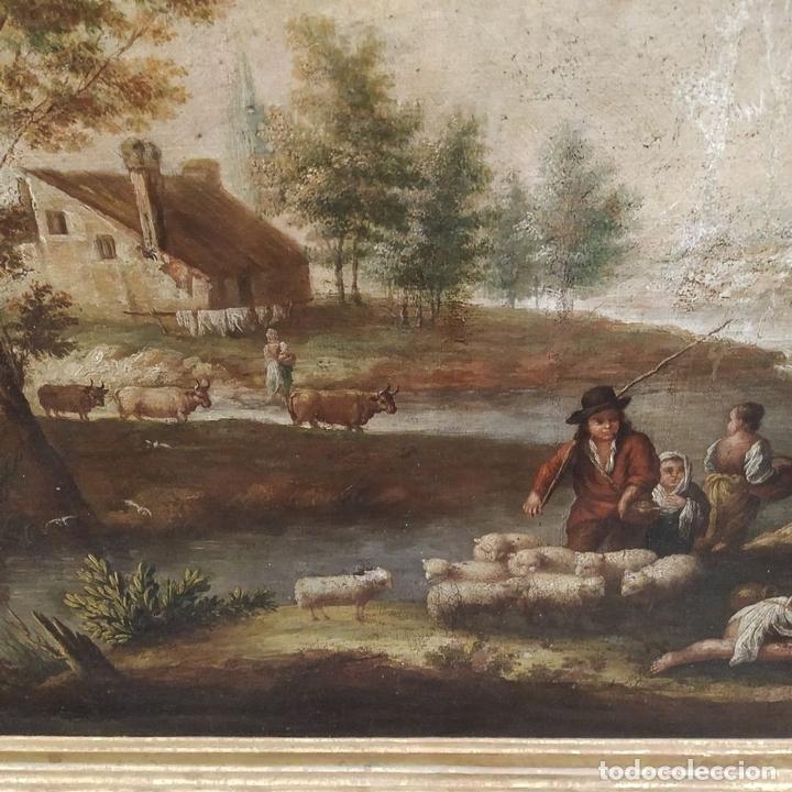 Arte: PAISAJE CON CAMPESINOS. ÓLEO SOBRE LIENZO. ESCUELA ITALIANA. ITALIA. XVIII-XIX - Foto 11 - 158532262