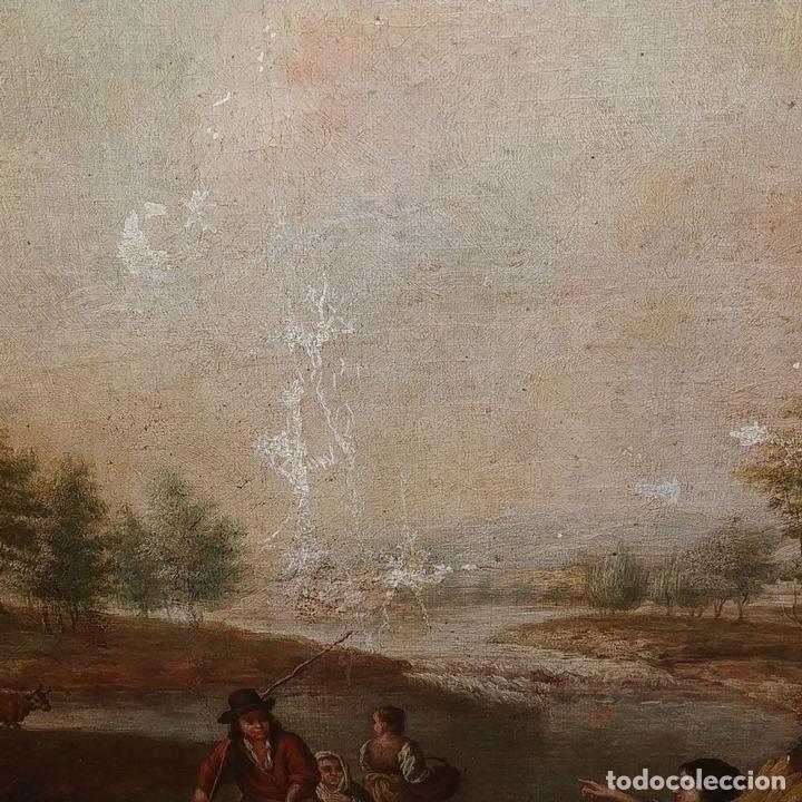 Arte: PAISAJE CON CAMPESINOS. ÓLEO SOBRE LIENZO. ESCUELA ITALIANA. ITALIA. XVIII-XIX - Foto 12 - 158532262