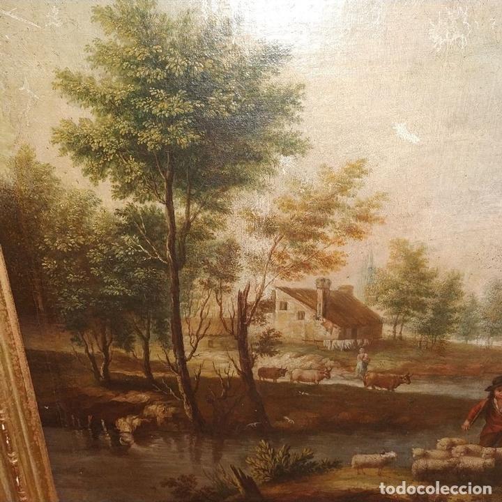 Arte: PAISAJE CON CAMPESINOS. ÓLEO SOBRE LIENZO. ESCUELA ITALIANA. ITALIA. XVIII-XIX - Foto 13 - 158532262