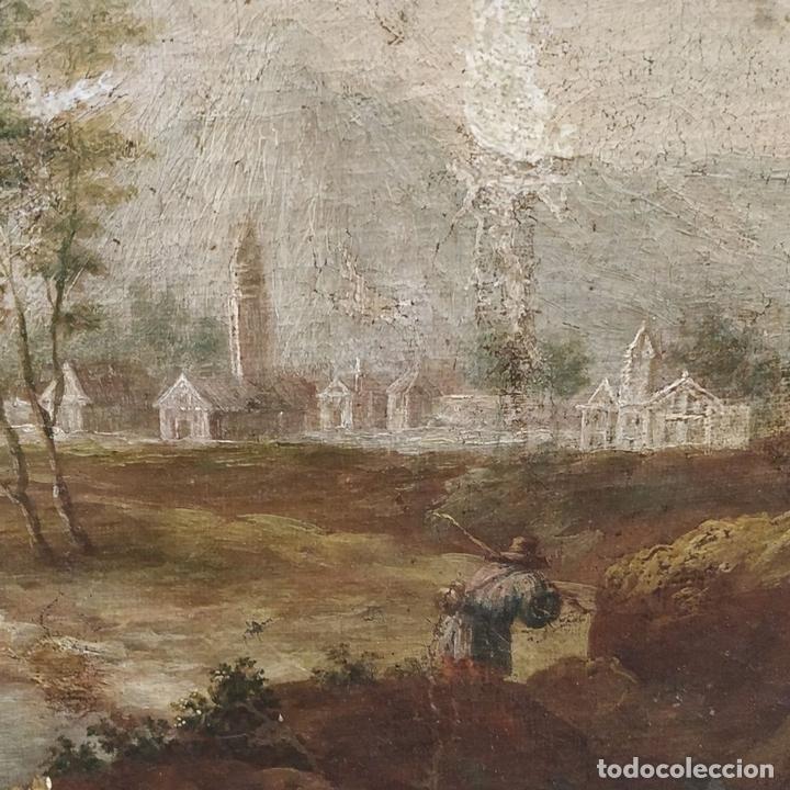 Arte: PAISAJE CON CAMPESINOS. ÓLEO SOBRE LIENZO. ESCUELA ITALIANA. ITALIA. XVIII-XIX - Foto 15 - 158532262