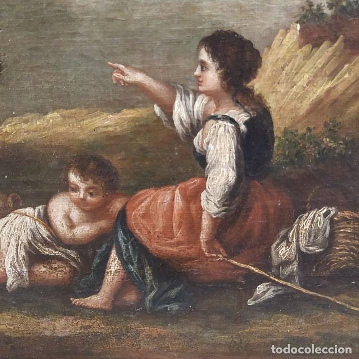 Arte: PAISAJE CON CAMPESINOS. ÓLEO SOBRE LIENZO. ESCUELA ITALIANA. ITALIA. XVIII-XIX - Foto 17 - 158532262