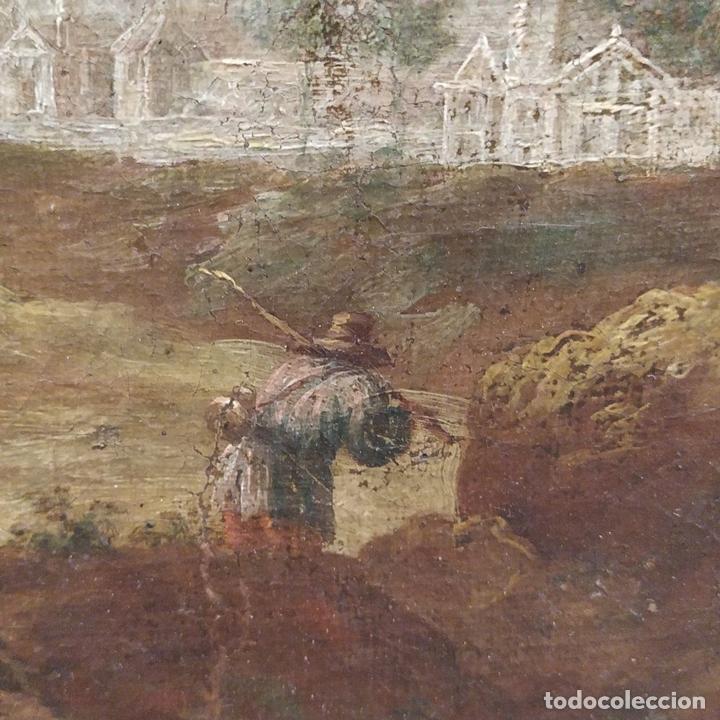Arte: PAISAJE CON CAMPESINOS. ÓLEO SOBRE LIENZO. ESCUELA ITALIANA. ITALIA. XVIII-XIX - Foto 18 - 158532262