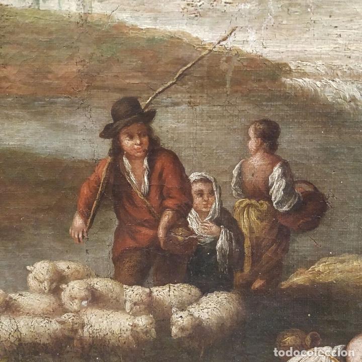 Arte: PAISAJE CON CAMPESINOS. ÓLEO SOBRE LIENZO. ESCUELA ITALIANA. ITALIA. XVIII-XIX - Foto 19 - 158532262