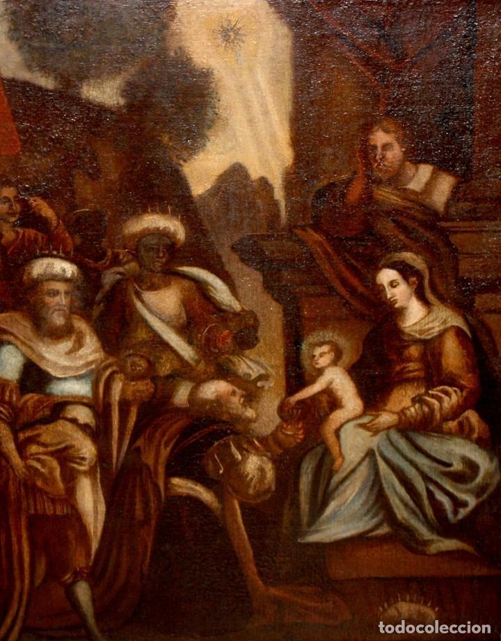 ESCUELA ESPAÑOLA DE PRINCIPIOS SIGLO XVIII OLEO TELA. ADORACION DE LOS REYES MAGOS (Arte - Pintura - Pintura al Óleo Antigua siglo XVIII)