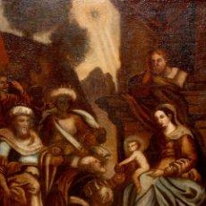 Arte: ESCUELA ESPAÑOLA DE PRINCIPIOS SIGLO XVIII OLEO TELA. ADORACION DE LOS REYES MAGOS. Lote 158549314