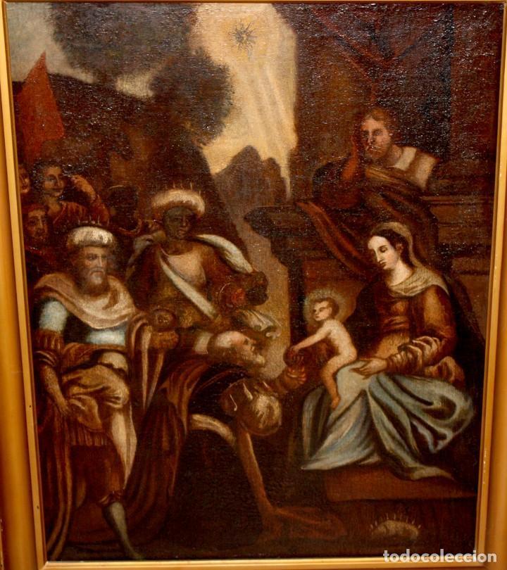 Arte: ESCUELA ESPAÑOLA DE PRINCIPIOS SIGLO XVIII OLEO TELA. ADORACION DE LOS REYES MAGOS - Foto 3 - 158549314