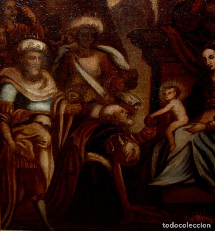 Arte: ESCUELA ESPAÑOLA DE PRINCIPIOS SIGLO XVIII OLEO TELA. ADORACION DE LOS REYES MAGOS - Foto 4 - 158549314