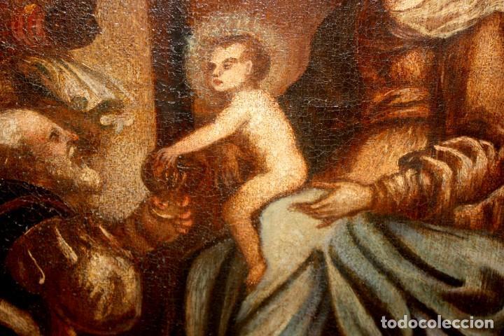 Arte: ESCUELA ESPAÑOLA DE PRINCIPIOS SIGLO XVIII OLEO TELA. ADORACION DE LOS REYES MAGOS - Foto 6 - 158549314