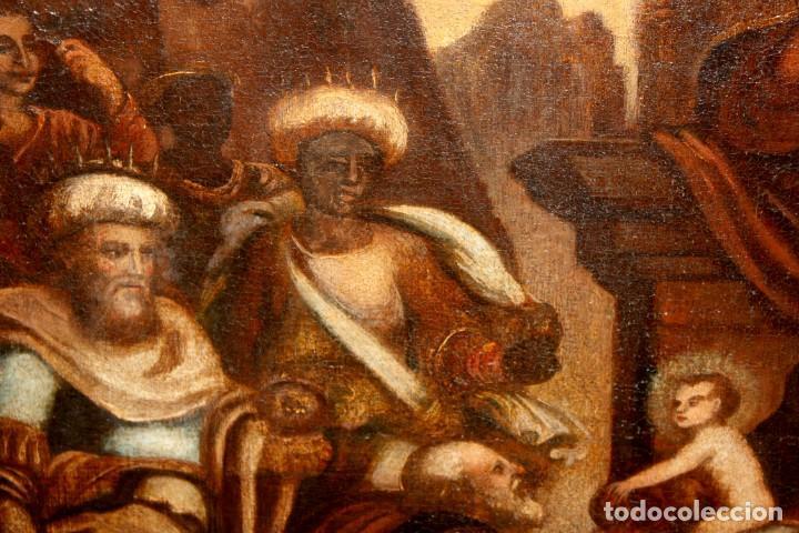 Arte: ESCUELA ESPAÑOLA DE PRINCIPIOS SIGLO XVIII OLEO TELA. ADORACION DE LOS REYES MAGOS - Foto 7 - 158549314