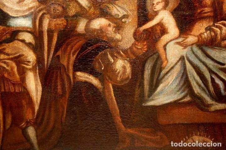 Arte: ESCUELA ESPAÑOLA DE PRINCIPIOS SIGLO XVIII OLEO TELA. ADORACION DE LOS REYES MAGOS - Foto 8 - 158549314