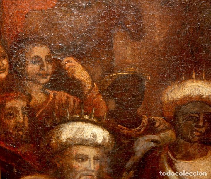 Arte: ESCUELA ESPAÑOLA DE PRINCIPIOS SIGLO XVIII OLEO TELA. ADORACION DE LOS REYES MAGOS - Foto 9 - 158549314