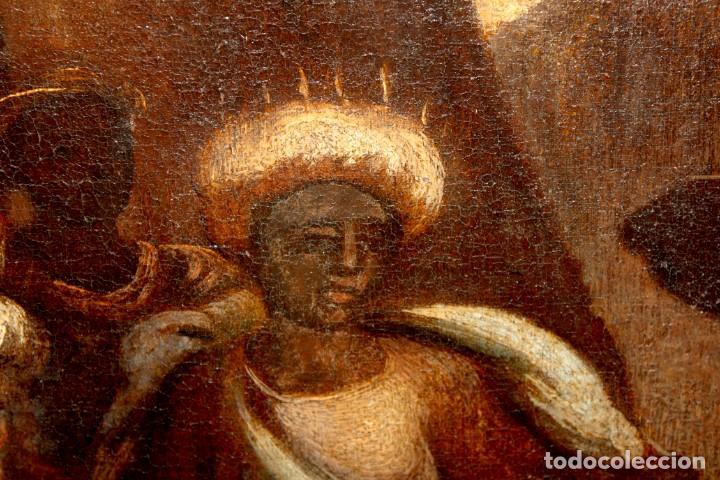 Arte: ESCUELA ESPAÑOLA DE PRINCIPIOS SIGLO XVIII OLEO TELA. ADORACION DE LOS REYES MAGOS - Foto 12 - 158549314