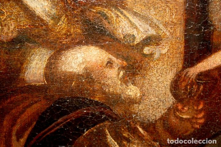 Arte: ESCUELA ESPAÑOLA DE PRINCIPIOS SIGLO XVIII OLEO TELA. ADORACION DE LOS REYES MAGOS - Foto 14 - 158549314