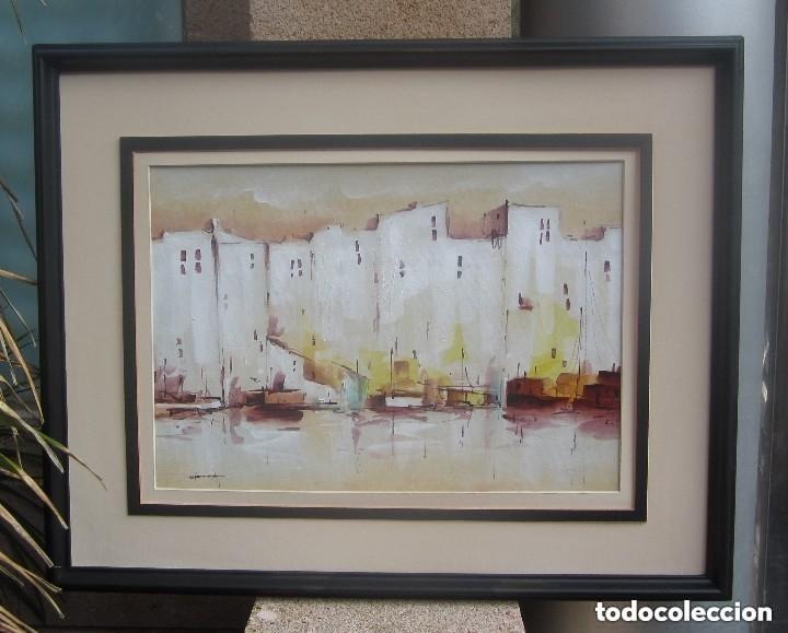 Arte: Maravilloso antiguo oleo marino sobre catón - Foto 2 - 158558834