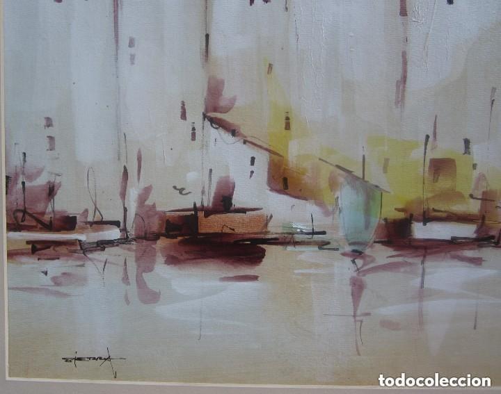 Arte: Maravilloso antiguo oleo marino sobre catón - Foto 4 - 158558834