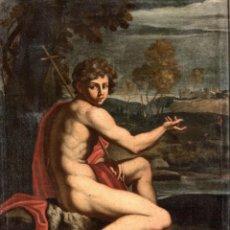 Arte: ESCUELA ITALIANA DEL SIGLO XVII. SAN JUAN BAUTISTA. OLEO SOBRE LIENZO. Lote 158640582