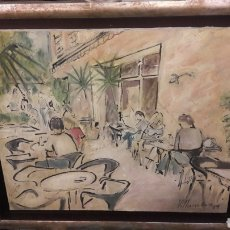 Arte: PINTOR JOSE VILLANUEVA LERIDA 1941/2018 OLEO TELA 1989 SERIE TERRAZAS 55X45. Lote 158646968