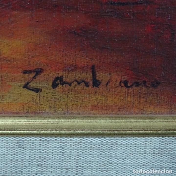 Arte: Óleo sobre tabla firmado Zambrano.bien enmarcado. - Foto 7 - 158751466