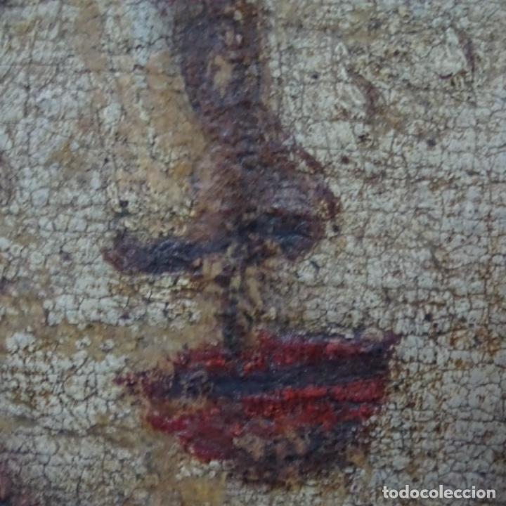Arte: Antiguo óleo religioso siglo xvii.dolorosa. - Foto 13 - 158753318