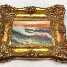 Kunst - L007 CUADRO OLEO TEMA OLAS CON MARCO DORADO - 158787714